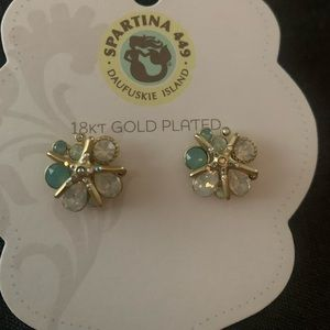 18k gold and green Starfish Spartina Earrings